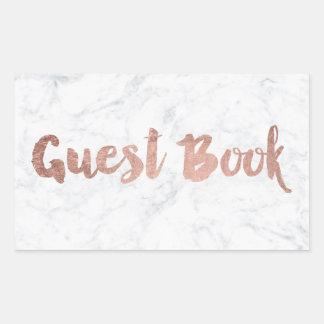 Mariage rose de livre d'invité de manuscrit de sticker rectangulaire