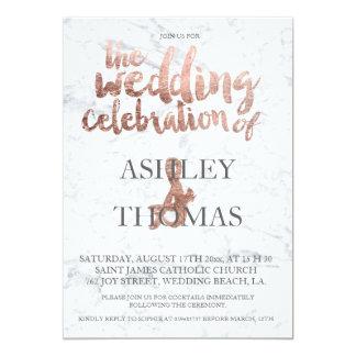 Mariage rose de marbre de typographie d'or carton d'invitation  12,7 cm x 17,78 cm