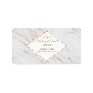 Mariage rose de marbre d'or de diamant étiquette d'adresse