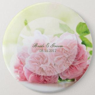 Mariage rose d'été rose élégant badge rond 15,2 cm