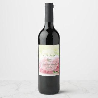 Mariage rose d'été rose élégant étiquette pour bouteilles de vin