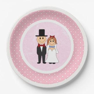 Mariage rose et blanc de jeunes mariés de pois assiettes en papier