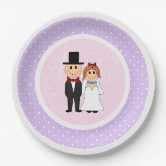 Mariage rose et pourpre de jeunes mariés de pois assiettes en papier