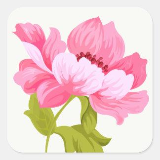 Mariage rose floral de fleur d'aquarelles de sticker carré