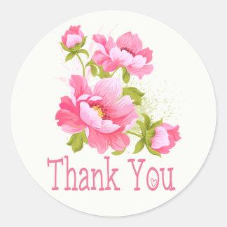 Mariage rose floral de fleur de pivoines de Merci Sticker Rond