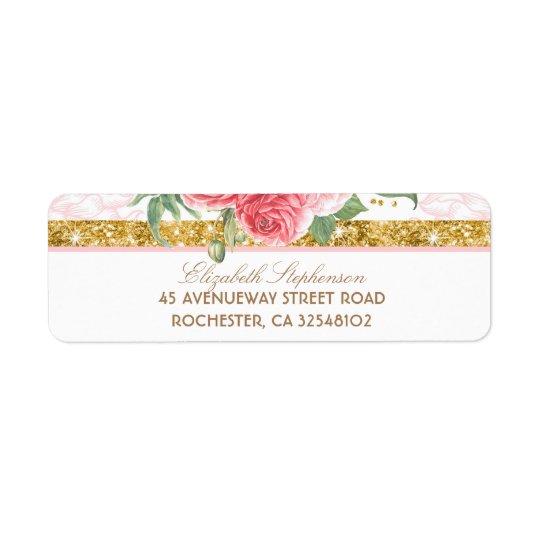 Mariage rose floral vintage de charme de étiquette d'adresse retour