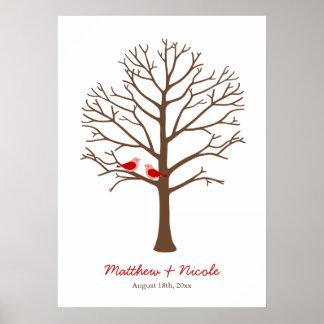 Mariage rouge-brun d'arbre d'empreinte digitale d'