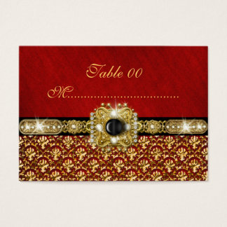 """Mariage rouge de """"nombre de table"""" de damassé d'or cartes de visite"""