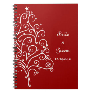Mariage rouge d'hiver d'arbre de Noël Carnet