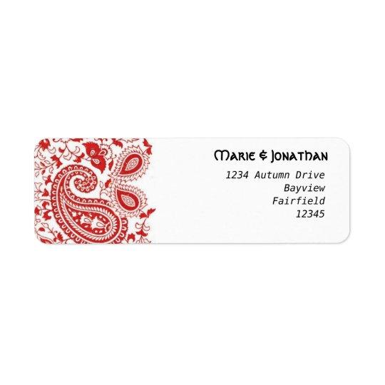 Mariage rouge et blanc de Paisley Étiquette D'adresse Retour
