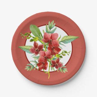 Mariage rouge tropical d'aquarelle d'orchidée assiettes en papier