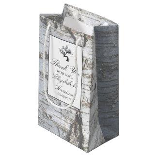 Mariage rustique d'arbre de bouleau argenté petit sac cadeau
