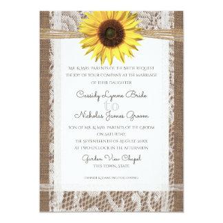 Mariage rustique de dentelle et de tournesol carton d'invitation  12,7 cm x 17,78 cm
