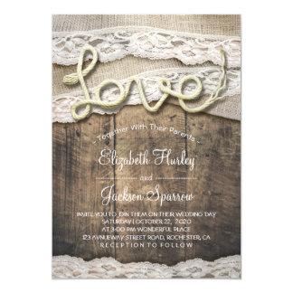 Mariage rustique de grange de dentelle de toile de carton d'invitation  12,7 cm x 17,78 cm