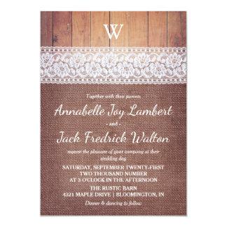 Mariage rustique de monogramme de dentelle et en carton d'invitation  12,7 cm x 17,78 cm