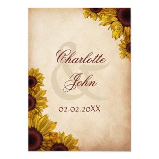 Mariage rustique de tournesol carton d'invitation  12,7 cm x 17,78 cm