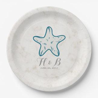 Mariage rustique d'étoiles de mer de bleu royal assiettes en papier