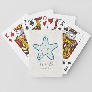 Mariage rustique d'étoiles de mer de bleu royal jeu de cartes