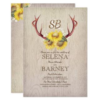 Mariage rustique floral d'andouillers et de carton d'invitation  12,7 cm x 17,78 cm