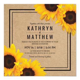 Mariage rustique simple de tournesol de Papier Carton D'invitation 13,33 Cm