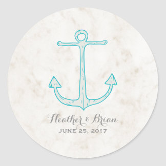 Mariage rustique turquoise d'ancre sticker rond