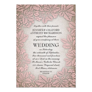Mariage rustique vintage de toile de jute et de carton d'invitation  12,7 cm x 17,78 cm