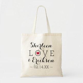 Mariage simple rouge d'amour sac en toile budget