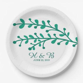 Mariage simple vert de feuillage assiettes en papier