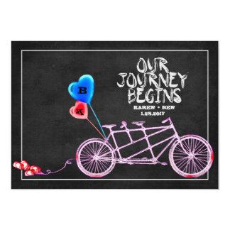 Mariage tandem de bicyclette de tableau carton d'invitation  12,7 cm x 17,78 cm