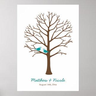Mariage turquoise d'arbre d'empreinte digitale d'o poster