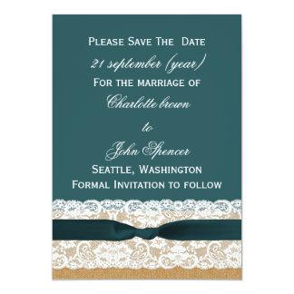 Mariage turquoise de dentelle et de toile de jute carton d'invitation  12,7 cm x 17,78 cm