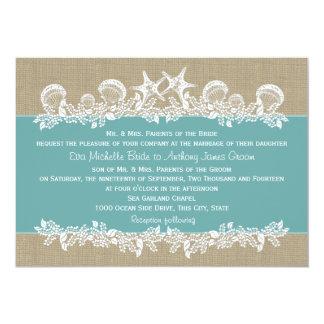 Mariage turquoise de guirlande de mer carton d'invitation  12,7 cm x 17,78 cm