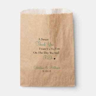 Mariage turquoise de lumière douce de Merci Sachets En Papier