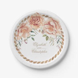 Mariage vintage crème de bouquet floral assiettes en papier