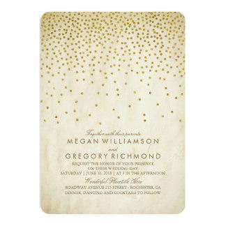 Mariage vintage de confettis d'or carton d'invitation  12,7 cm x 17,78 cm