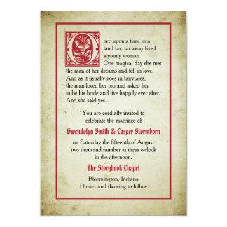 Mariage vintage de conte de fées de la page | de carton d'invitation  12,7 cm x 17,78 cm