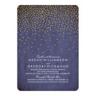 Mariage vintage de marine de confettis d'or carton d'invitation  12,7 cm x 17,78 cm