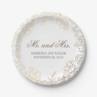 Mariage vintage d'or et de guirlande florale assiettes en papier