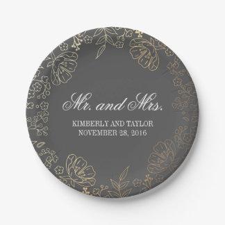 Mariage vintage d'or et de guirlande florale grise assiettes en papier
