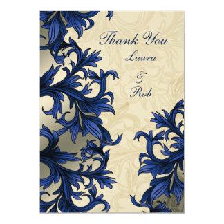 Mariage vintage en ivoire de Flourish de marine Carton D'invitation 12,7 Cm X 17,78 Cm