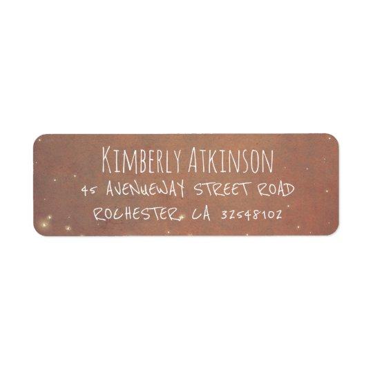 Mariage vintage rustique de lucioles étiquette d'adresse retour