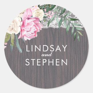 Mariage vintage rustique en bois floral de sticker rond