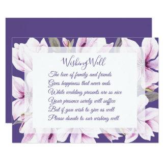 Mariage violet de magnolia souhaitant les cartes