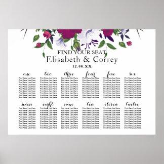 Mariage violet pourpre botanique de bouquet de poster