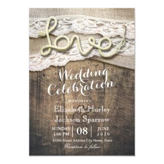 Mariages rustiques de grange de dentelle de toile carton d'invitation  12,7 cm x 17,78 cm