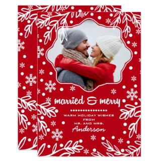 Marié et joyeux. Cartes de modèle photo de Noël