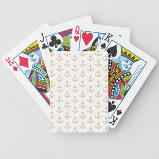 Marin nautique de motif beige d'ancre jeu de cartes