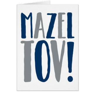 Marine de bloc de Mazel Tov + Gris Carte De Vœux