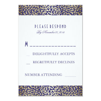 Marine de confettis de feuille d'or épousant des carton d'invitation 8,89 cm x 12,70 cm