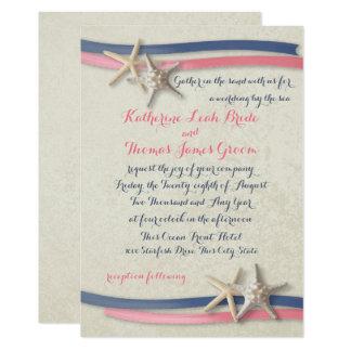 Marine et étoiles de mer et ruban roses de mariage carton d'invitation  12,7 cm x 17,78 cm
